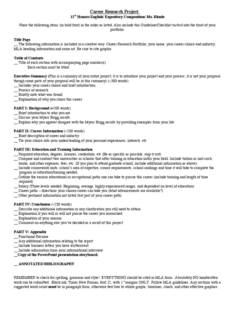Career Research Project Final Checklist Graduate School Cognition