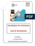 Vocabulary for Grammar