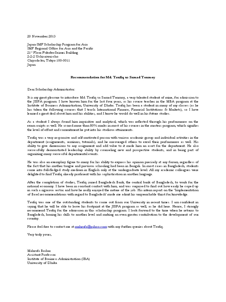 Self Recommendation Letter Example from imgv2-2-f.scribdassets.com