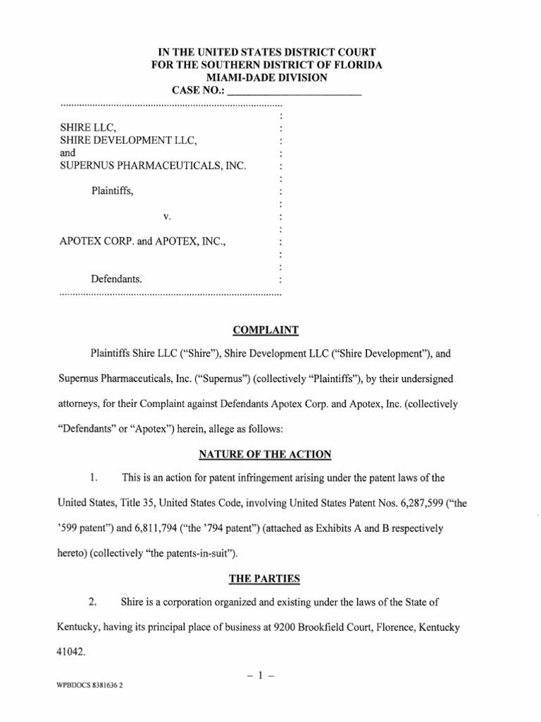 Shire Et  Al  v  Apotex Et  Al  | Patent Infringement