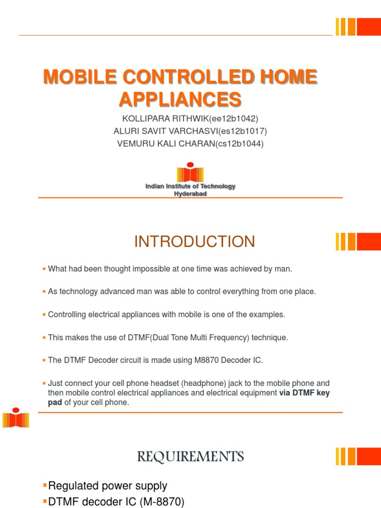 Mobile Controlled Home Appliances Telephone Electronic Circuits Dtmf Phone Decoder