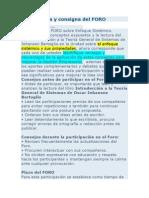 Bienvenida y Consigna Del FORO