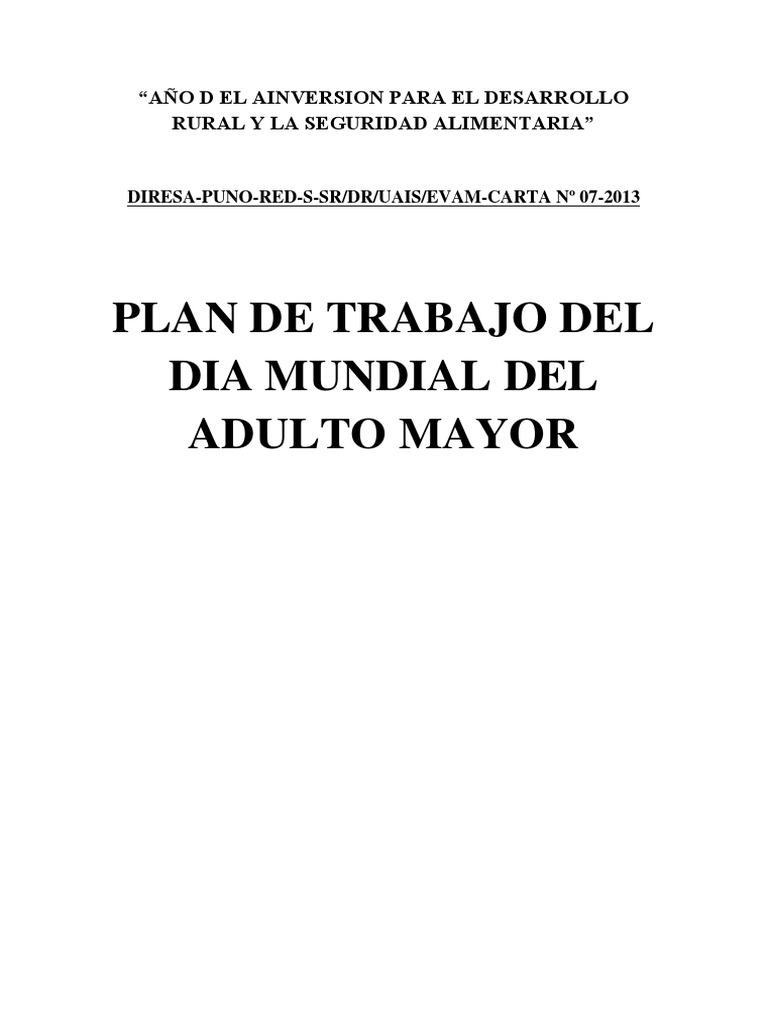 Plan de Trabajo Dia Mundial Del Adulto Mayor