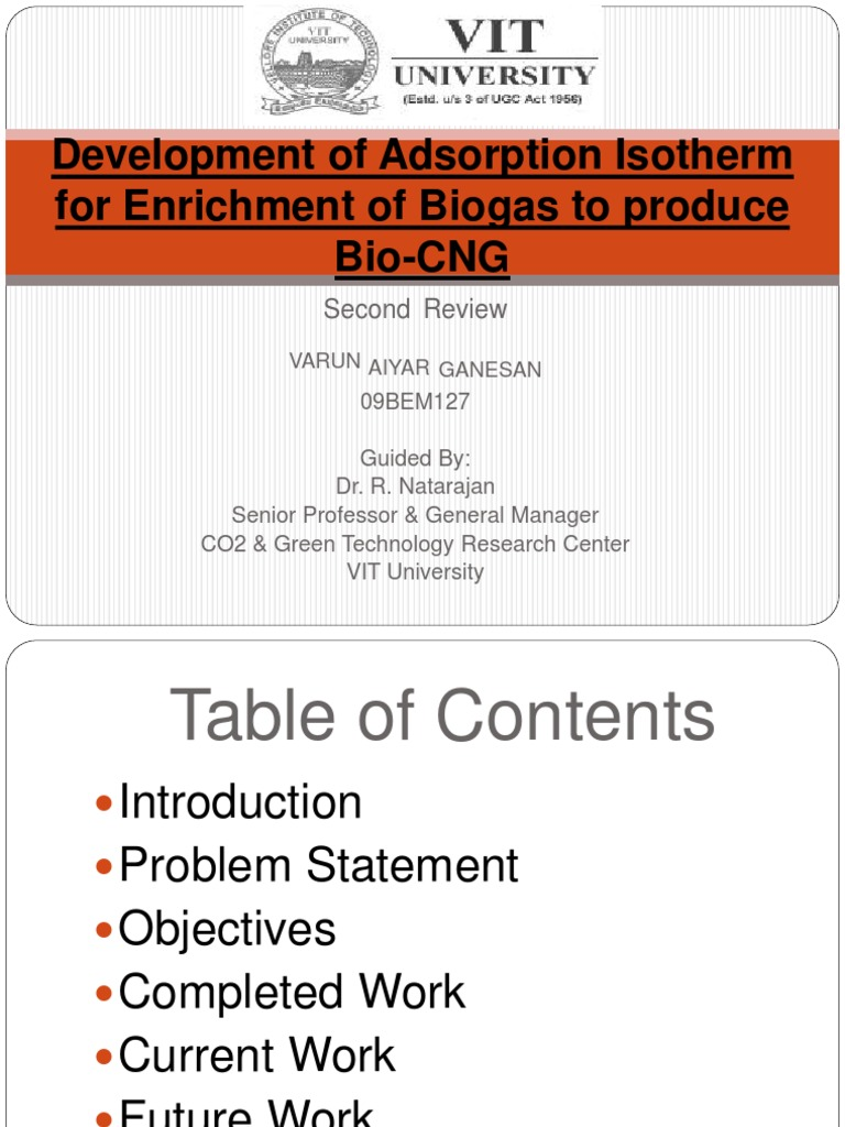 Development of Adsorption Isotherm for Enrichment of Biogas
