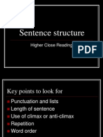 Sentence Structure- Higher