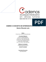 2 - Caderno de pesquisa interdisciplinar em ciências humanas _ Sobre o conceito de Interdisciplinaridade - LEIS - 2005