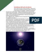 Características del sol y la tierra