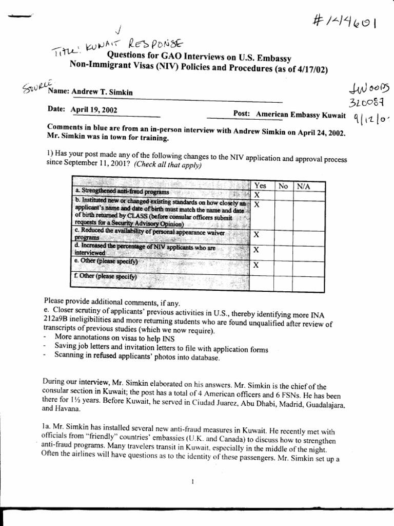 T5 B65 GAO Visa Docs 5 of 6 Fdr- 4-19-02 GAO Interview of