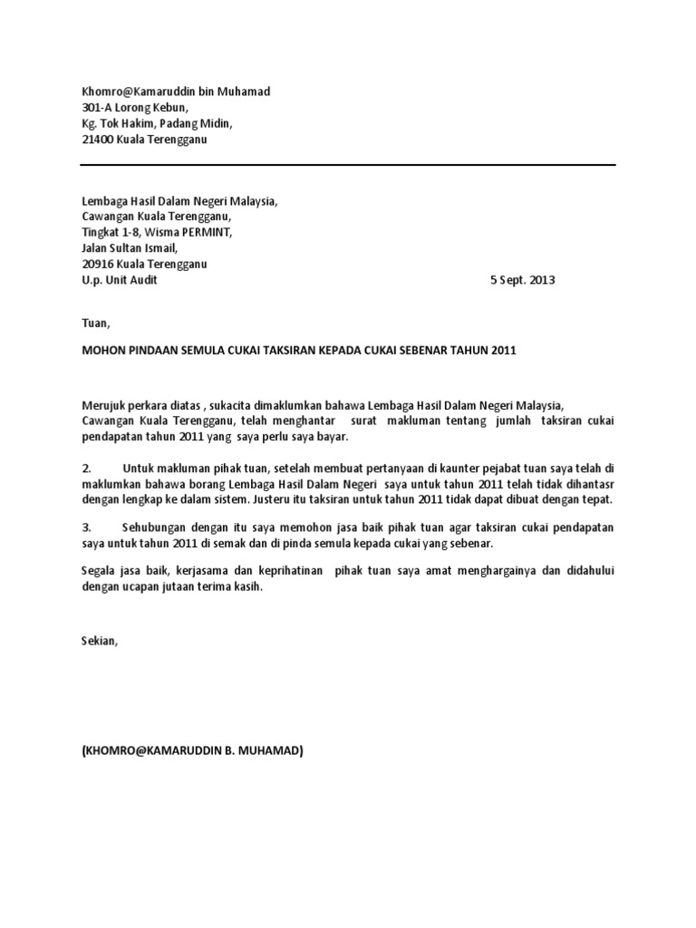 Contoh Surat Rayuan Pindaan Lhdn Pewarna O