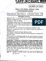 Central Police Force (Assistant Commandant) Exam, 2012 - General Studies, Essay and Comprehension