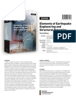Eeesd Book Flyer 3rd Ed Introduction Earthquake Engineering Earthquakes Free 30 Day Trial Scribd