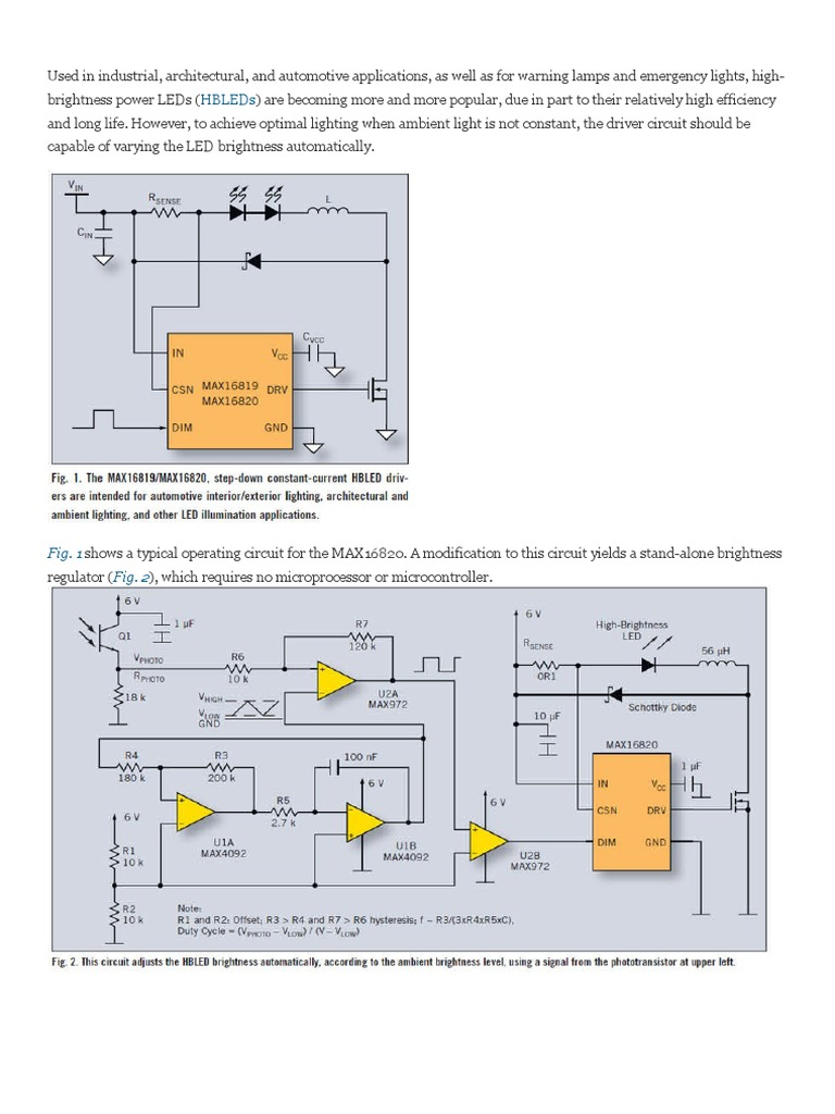 MAX16820 HB-LED PWM Auto Dimming | Operational Amplifier