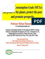 Mohan Munasinghe Millennium Consumption Goals MCGs Can Preserve the Planet Protect the Poor and Promote Prosperity