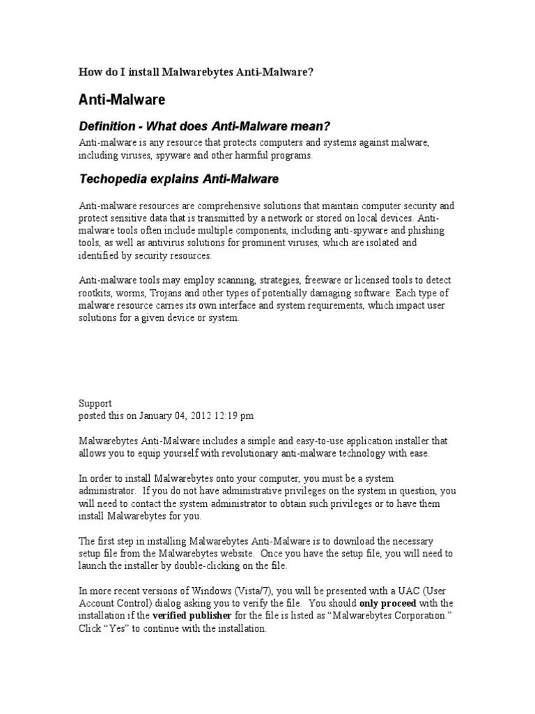 How Do I Install Malwarebytes Anti | Spyware | Antivirus