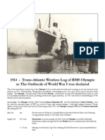 1914 - Trans-Atlantic Wireless Log of the Olympic at the Outbreak of WWI