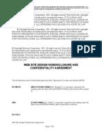 Web Site Design Non-Disclosure Agreement