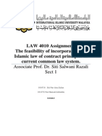 The Feasibility of Incorporating the Islamic Law of Contract Principles in Current Common Law System