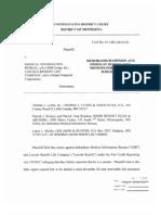 Medical Information Bureau MIB v Federal Insurance Corp MIB_Olwell_JudgesMemoOnFCRA