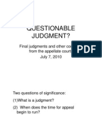 Questionable Judgments 7.7.10