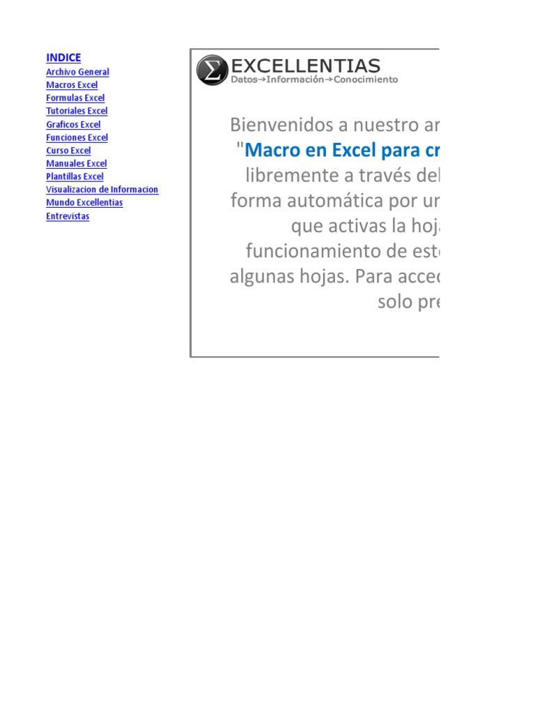 Macro en Excel Para Crear Indice de Hojas