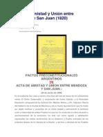 Acta de Amistad y Union Entre Mendoza y San Juan (1820)