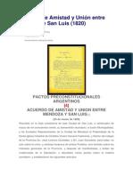 Acuerdo de Union y Amistad Entre Mendoza y San Luis (1820)