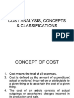 Cost Analysis, Concepts & Classifications