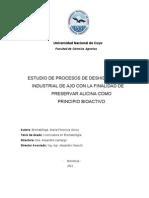 PLNATA PILOTO-PROCESO DE DESHIDRATACIÓN INDUSTRIAL DEL AJO