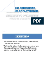 mode of defining existence  of partnership
