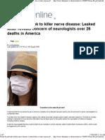Swine Flu Jab Link to Killer Nerve Desease