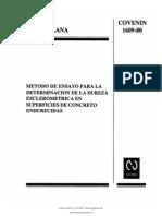 Covenin 1609-80 Metodo de Ensayo Para La Determinacion de La Dureza Esclerometrica en Superficies de Concreto Endurecidas