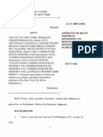 Affidavit of Plaintiff Betty Posner for Summary Judgment Motion in Civil Rights Case against the New York City Police Department.