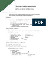 Especificaciones de Subestacion Electrica