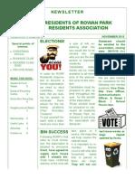 Residents of Rowan Park Newsletter November 2013