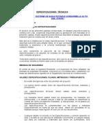 Especificaciones Condormilla Alto 2da Etapa
