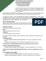 Boletín de Resultados Provisorios Elección de Diputados 2013