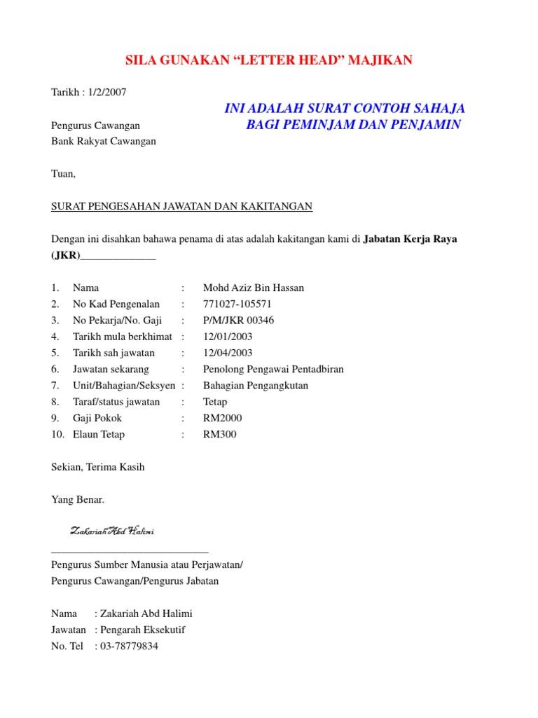 Surat Pengesahan Majikan Sample
