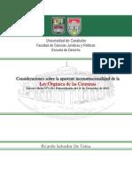 Consideraciones Sobre La Ley Organica de Las Comunas