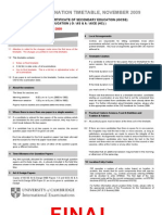 CIE Examinations October/November 2009 Timetable
