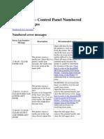 Error Code Control Panel