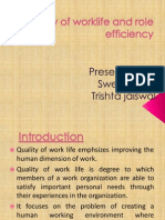 Quality of Worklife and Role and Efficiency