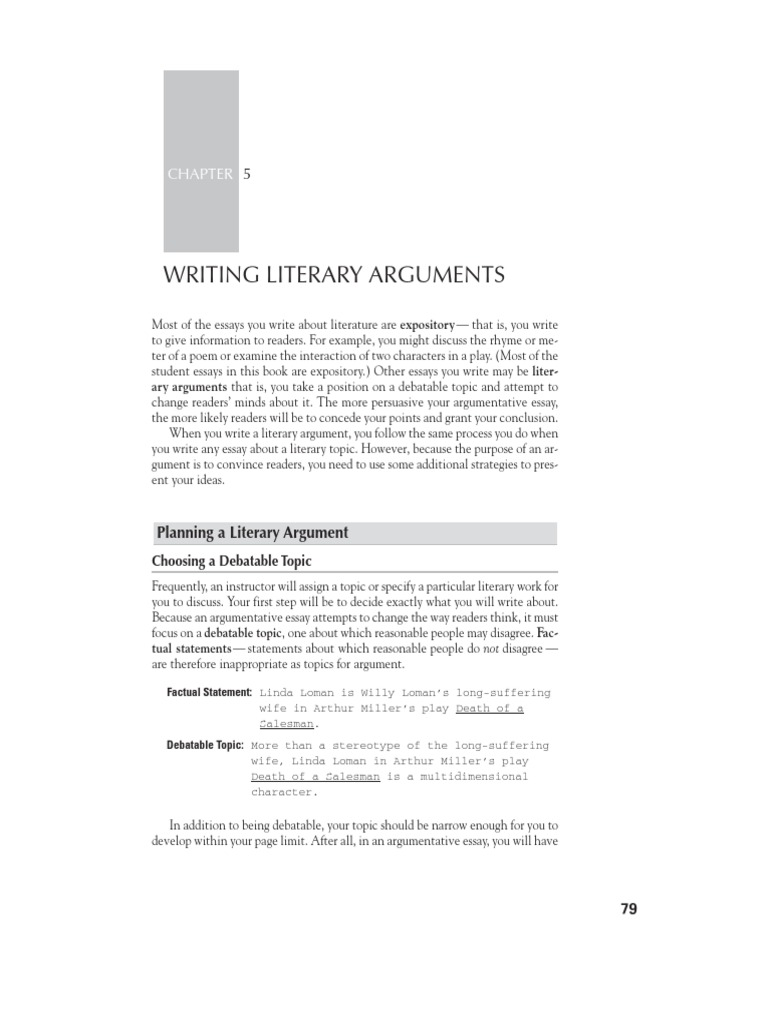 Literary argument paper