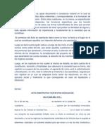 Una Acta Constitutiva es aquel documento o constancia notarial en la cual se registrarán todos aquellos datos referentes y correspondientes a la formación de una sociedad o agrupación