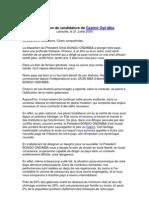 Déclaration de candidature de Casimir Oyé Mba