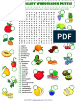 Food Fruit Vocabulary Wordsearch Puzzle Worksheet
