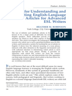 A System for Understanding and Selecting English-Language Articles for Advanced ESL Writers HEATHER M. ROBINSON