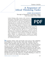 1.1. a Sequence of Critical Thinking Tasks JOHN BEAUMONT