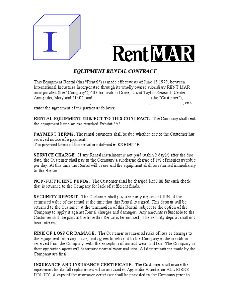 Equipment Rental Contract | Business Law | Common Law