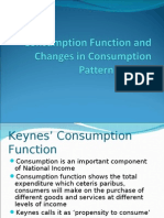 Consumption Function and Changes in Consumption Pattern In