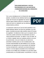 COMPLEMENTARIEDAD Y MUTUA INTERDEPENDENCIA DE LAS DISTINTAS TEORÍAS FUNDAMENTADORAS DEL PRINCIPIO
